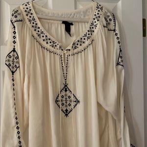 Lane Bryant long blouse black embroidered